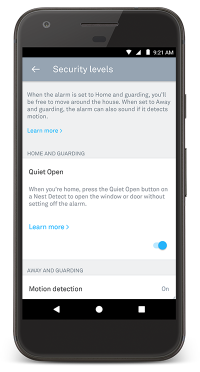 Nest app quiet open