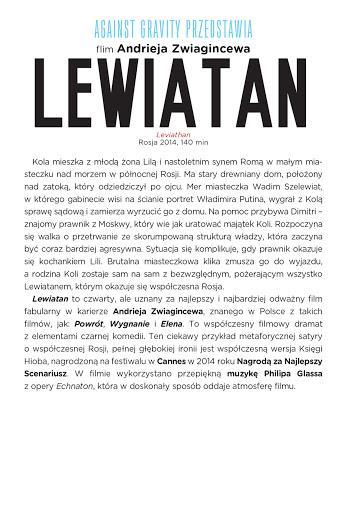 Tył ulotki filmu 'Lewiatan'