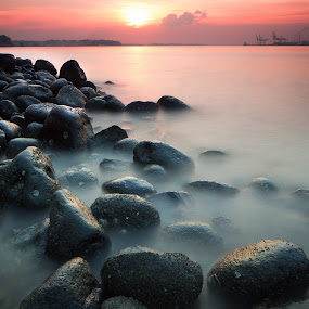 Visual Symphony by Richard Amar - Landscapes Sunsets & Sunrises ( smooth, canon eos 5d mark iii, lee 1.2 nd filter, singapore, canon gps receiver gp-e2, singh ray reverse nd grad filter, canon ts-e24mm f/3.5l ii, silky, sunset, long exposure, singh ray lb warming polarizer, stones, rocks, golden hour, punggol )