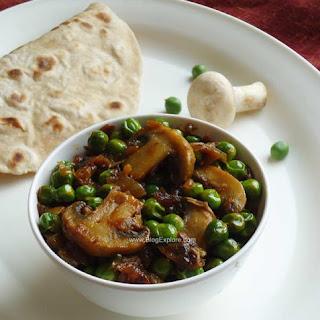 Matar Mushroom Fry - Mushroom and Peas Stir Fry