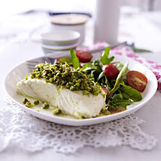 Halibut With Pistachio Crust and Rhubarb Salad.