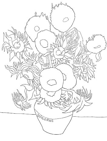 Sunflowers Colouring Page Van Gogh Museum