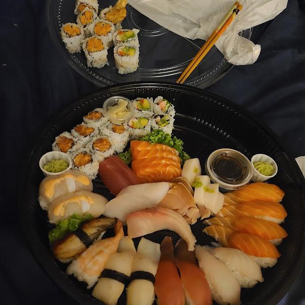 California rolls, unagi, and tempura sweet potato