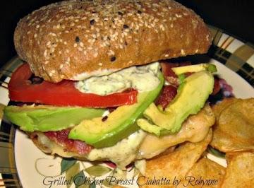 Grilled Chicken Breast Ciabatta W/ Pesto Mayo~robynne Recipe