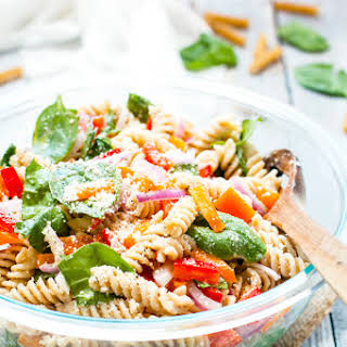 Italian Dressing Pasta Salad with Parmesan.