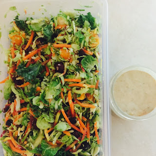 Kick-off Brussels Sprouts Kale Salad with Tuna Dressing