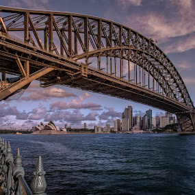 The photographer by Jose Rojas - Buildings & Architecture Bridges & Suspended Structures ( waterscape, photographer in action, landscape, opera house, sydney, photographers, taking a photo, photographing, photographers taking a photo, snapping a shot )