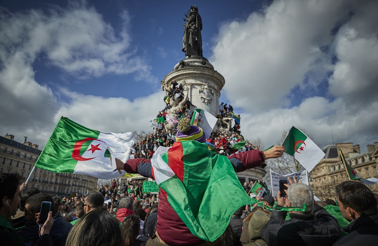 French Algerian demonstrators hold a peaceful demonstration against a fifth presidential term of President Abdelaziz Bouteflika, in Paris, France, March 10 2019. Picture: KIRAN RIDLEY/GETTY IMAGES