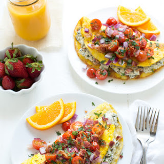 Spinach and Kale Omelet with Tomatoes and Bacon Recipe