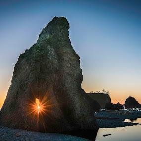 Ruby Beach Sunburst by Glenn Miller - Landscapes Sunsets & Sunrises ( sunburst, washington, ruby, sunset, star, beach )