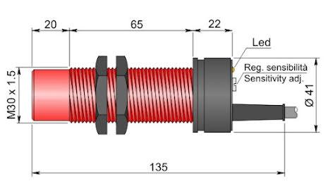 Kapacitiv givare M30, reläutgång 1A, 12-240VAC/DC