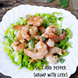SALT AND PEPPER SHRIMP WITH LEEKS