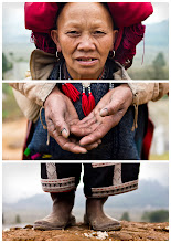"Photo: Triptychs of Strangers #30: The Blue Inked Red Dzao, Taphin Village - Sapa  About this shot It was my last day in Sapa and I rented a motorbike to visit a village called Taphin. This place is known to be a Red Dzao place but as I learned there are Black Hmong people living there too. It has not always been like that - those two tribe living in one place. But for about a decade these nice people are more tolerant among each other and even cross tribe marriages are possible.  About this stranger Meet Jaa, she is 56 years old and a member of an ethnic group known as Red Dzao. If you ever meet a Red Dzao in the streets ;-) you might recognize them from their beautiful red turbans (they come in many forms) and these iconic clothes. Addionally as a Red Doa woman Jaa has her eyebrows and forehead shaved off - she told me that this is traditionally regarded as a sign of beauty.  Her english was remarkable and in general the english of any other hill tribe member around Sapa is actually better than the english of the people in Hanoi.  Jaa has a husband and five kids (four girls and one boy). They make their living from cultivating corn and rice, but since they have seasonal weather in this subtropical area of vietnam they learned to market themselves …. their handcrafting skills to be exact. Means they sell metal or silver bracelets, bags, scarf or any sewed and embroidered type of clothes you can imagine.  What wondered me the most is their persisting style of selling their stuff. As soon as you enter a village of hill tribe they follow you all the way through the village … I knew this from other villages and I know I could have sent them off easily, but I pretty much enjoyed Jaa's company. The way she introduced me to everyone and giving me informations about her view on life in general was mind-blowing. Buying a souvenir in the end was pretty much a win win situation here.  By the way hand made goods are only sold by the woman - her husband always stayed at home and was looking after their children and now helping out with their children's children. I am under the expression that only this is the reason why the woman speak english so well, know how to write while the men can't.  I bet she has been inking cloth a couple of days ago. You must know they use indigo plants to give their clothes this deep dark blue. Without any precautions made you can expect your fingers to be blue for a coupe of days.  Who else can our strangers #30 be than ""The Blue Inked Red Dzao"""