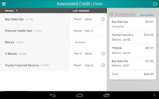 Screenshot of Associated Credit Union Mobile