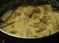 While lemon cream sauce is cooking, cut your cooked chicken breasts in small cubes....