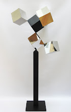 Photo: 30 REFLECTIONS AND A VOID - 58H X 26W X 24D Polished Stainless Steel, Painted Mild Steel, Rear View