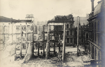 Photo: Note 'Salada', upper right.Aftermath of fire, Front St. W., looking n. from s. side, w. of Yonge St.; custom house at right.