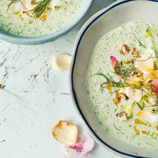 Cucumber and Yogurt Soup With Walnuts and Rose Petals From 'A Change of Appetite'.