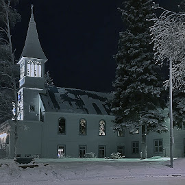 Immaculate Conception Parish by Julio Cardona - Buildings & Architecture Places of Worship ( steeple, fairbanks, immaculate conception, alaska, parish, night, scenic, historical, architecture, landscape, igzotic )