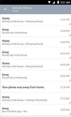 Home Away/Assist activity history page