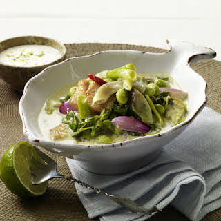 Thai Green Curry with Fish and Spinach.