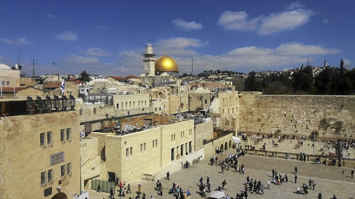 The Wailing Wall in Jerusalem.