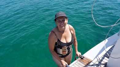 Photo: Going for a swim at Koukounaries beach