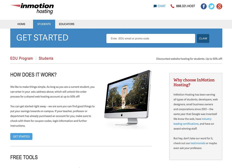 Chi tiết về dịch vụ lưu trữ chiết khấu dành cho sinh viên của InMotion