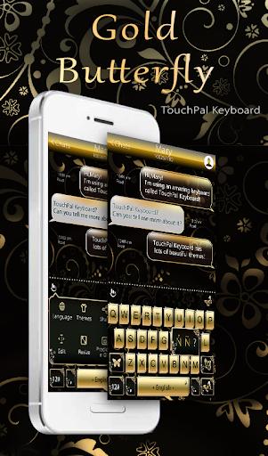 Gold Butterfly Keyboard Theme 6.10.14 screenshots 1