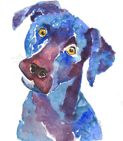 a blue painted dog with yellow eyes
