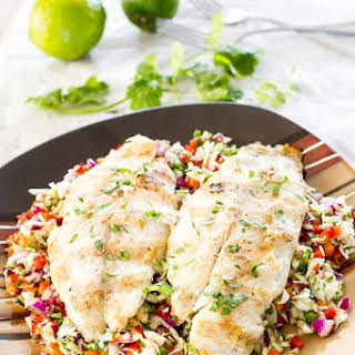 Grilled Basa over Spicy Slaw.