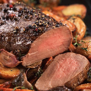 Peppered Beef Tenderloin with Roasted Vegetables.