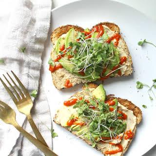 Avocado Hummus Toast with Microgreens.