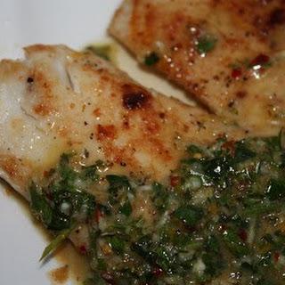Pan Fried Tilapia with Bonefish Grill's Chimichurri Sauce.