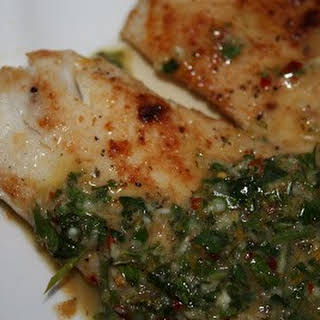 Pan Fried Tilapia with Bonefish Grill's Chimichurri Sauce.