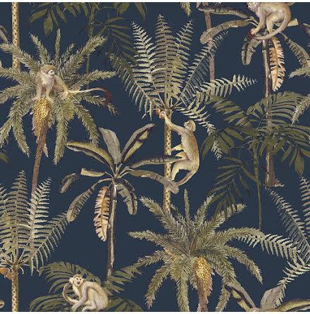 Amazonia WOW43, Tapet med apor och palmträd, Vit