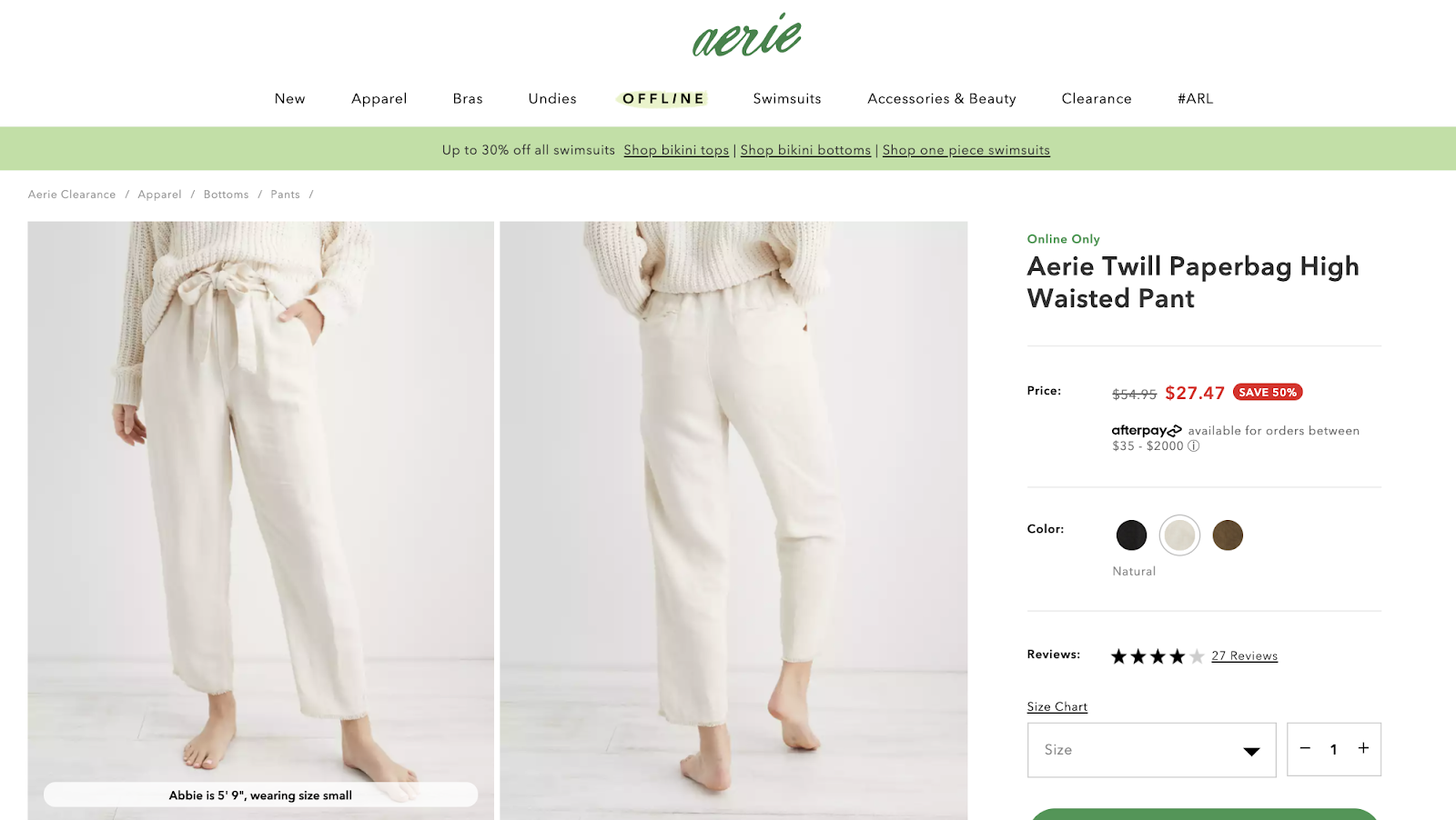 product listing for Aerie Twill pants on sale for $27.47