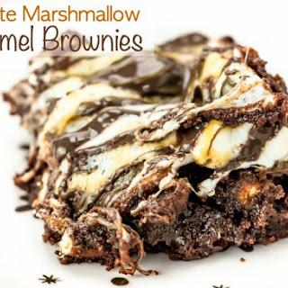 Gooey Triple Chocolate Marshmallow Caramel Brownies.