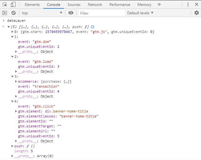 código data layer camada de dados no console developer tools