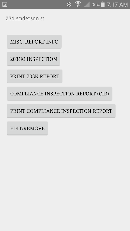 Compliance Inspection Report- screenshot