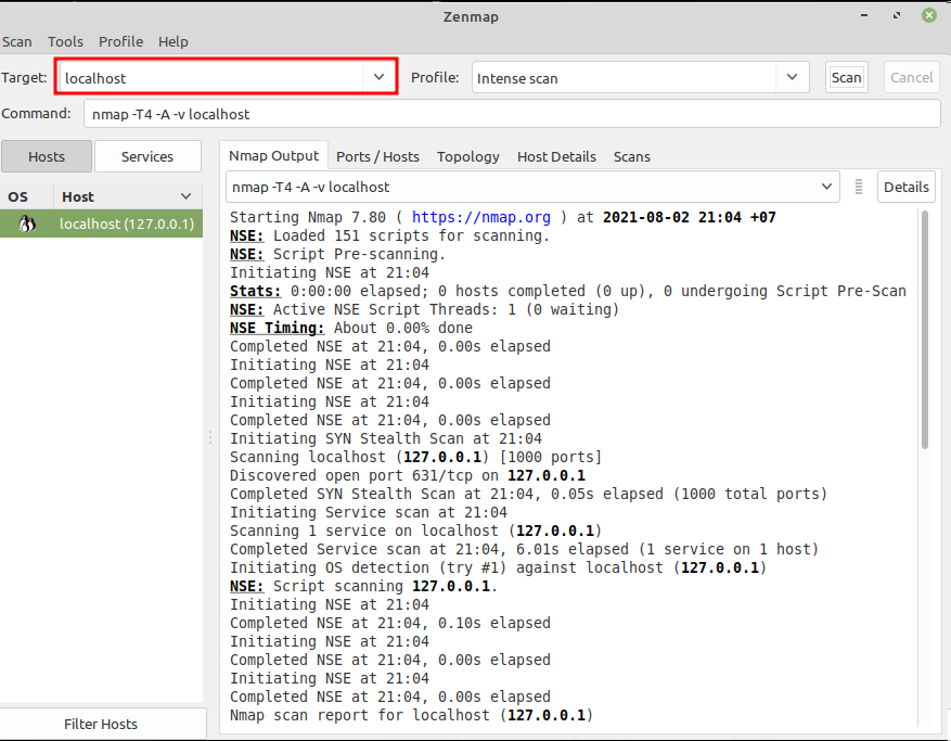 Test Zenmap in Linux Mint via Menu. Source: nudesystems.com