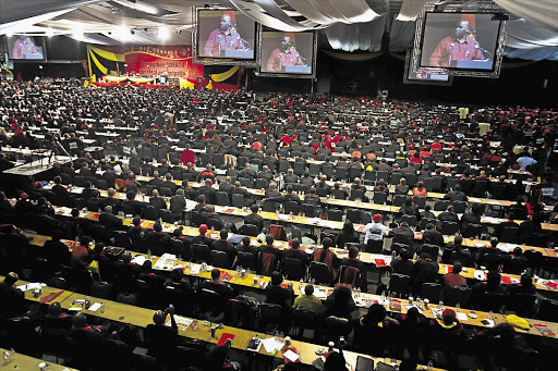 Cosatu's national congress in Midrand, north of Johannesburg, yesterday. The head of the trade union federation, Zwelinzima Vavi, told delegates the ANC needed to ensure its succession battle was not counter-productive Picture: DANIEL BORN