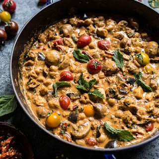 Simple Almond Chicken, Chickpea and Eggplant Curry..