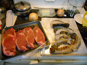 Photo: Being the this was close to Valentines day I splurged and got Lobster tail (was on special ) and Rib Steak (purchased at another store but on special as well). BBQ in the winter months improves everyone's sense of well being.