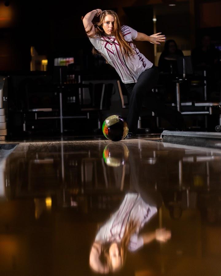 Strike by Todd Wallarab - Sports & Fitness Bowling ( ball, strike, lady, pins, bowling, girl, sport )