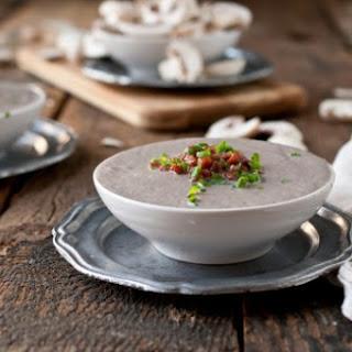 Creamy Mushroom Stout Soup with Crispy Pancetta.