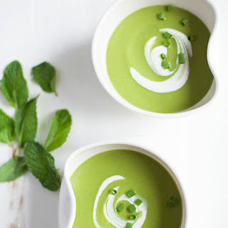 Minted Pea Soup with Cashew Cream.