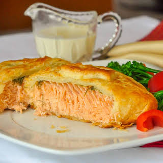 Salmon in Pastry with Dijon Cream Sauce.