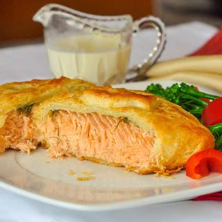 Salmon in Pastry with Dijon Cream Sauce.