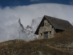 Photo: Rifugio Bertone (6,525 ft.) occupies this choice spot. However, it appears to be closed.